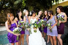 Shades of purple wedding party