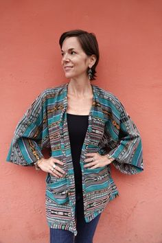 Guatemalan Kimono Created from Vintage Handwoven Ikat Corte/Skirt