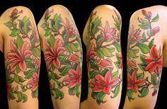 Lily half sleeve tattoo