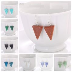 Natural Stone Hanging Earrings Natural Stone Triangle Dangle Earrings These little triangles are just delightful. Each is around 1.5cm-2cm in length and made from natural stone and cooper plated silver. Select from the following, numbers are listed on photos so you can make sure you get the one you want!   Green aventurine  Malachite  Blue sandstone  Blue agate  ... FREE Global Shipping.  #gemstonejewelry; #crystals #gemstones Hanging Earrings, Dangle Earrings, Green Aventurine, Malachite, Triangles, Crystal Healing, Natural Stones, Gemstone Jewelry, Agate