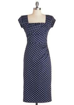 Styling Speech Dress in Dots. A top expert in the area of styling, you were a natural choice to give the commencement speech at your alma mater. #blue #modcloth