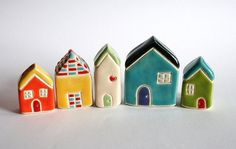 bright colorful painted petite chibi clay houses