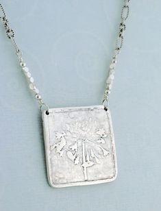 handmade jewelry - square - pendant necklace - fine silver - PMC - precious metal clay - sterling - Queen Annes Lace
