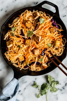 Easy Coconut Curry Stir Fry Noodles with Glazed Tofu - Easy weeknight gluten free and vegan meal! Stir Fry Recipes, Tofu Recipes, Asian Recipes, Vegetarian Recipes, Cooking Recipes, Noodle Recipes, Budget Recipes, Free Recipes, Healthy Meals