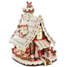 Kurt Adler Lighted Gingerbread House ❤ liked on Polyvore featuring home, outdoors, outdoor decor, outdoor holiday decor and kurt adler