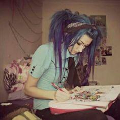 Sisterlocks, Pelo Emo, Dreads, Emo Scene Hair, Scene Girl Hair, Alternative Hair, Scene Girls, Coloured Hair, Dye My Hair