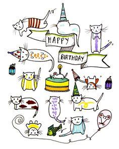 Birthday Cats greeting card #illustration #catlady #happybirthday
