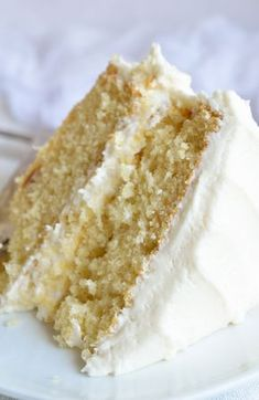 Bake a cake just like Grandma used to with this Vintage Buttermilk Vanilla Cake Recipe From Scratch. A delicate layer cake topped with homemade vanilla buttercream frosting! #cake #dessert wonkywonderful.com