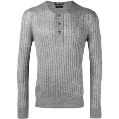 Tom Ford ribbed buttoned jumper ($1,245) ❤ liked on Polyvore featuring men's fashion, men's clothing, men's sweaters, grey, mens gray sweater, mens button up sweater, mens grey sweater and mens ribbed sweater