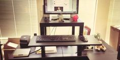 Interested in trying a standing desk but put off by the price? Check this out.   Colin Nederkoorn, founder and CEO of Customer.io, has designed a simple base that can raise a monitor and keyboard up