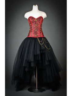 Red and Black Gothic Steampunk Corset High-Low Prom Party Dress - Devilnight.co.uk