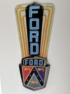 Classic 1930 Vintage Ford dealer vertical embossed tin sign