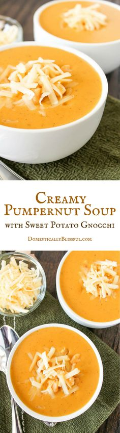 This Creamy Pumpernut Soup is filled with the fresh flavors of fall & a few special seasonal ingredients that make this the best soup for fall! | Creamy Pumpernut Soup recipe by Domestically Blissful