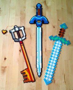 Swords perler beads by Oggey-Boggey-Man on DeviantArt:Mickeys Keyblade - Kingdom Hearts, Mastersword - Legend of Zelda, A Link to the Past and Diamondsword - Minecraft.