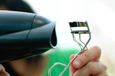 Heat your eye lash curler with your hair dryer for a longer lasting curl!