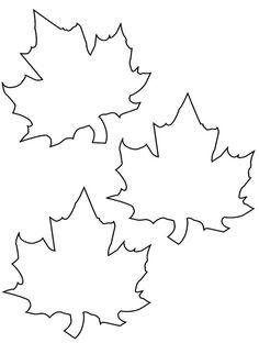 Vorlage zum Ausdrucken und Ausmalen - drei Herbstblätter