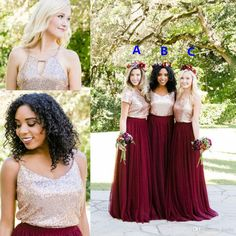 Rose Gold Sequins Burgundy Country Two Pieces Bridesmaid Dresses 2018 Mix Style Long Holiday Junior Wedding Party Guest Dress Cheap Mermaid Wedding Dress Rose Gold Sequin Dress Country Bridesmaid Dress Online with $89.15/Piece on Kazte's Store | DHgate.com