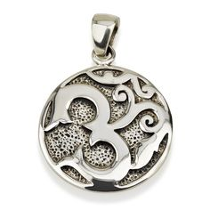 "Om Pendant Sterling Silver 925 Size 1.0"" Sacred Geometry Flower of Life Yoga #MAGAYA #Pendant"