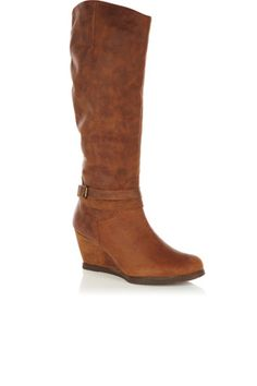 Leonie Leather Wedge Boots