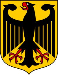 """The coat of arms of Germany displays a black eagle (the Bundesadler """"Federal… Eagle Images, Imperial Eagle, Paris 13, Empire Romain, Black Eagle, Holy Roman Empire, National Symbols, National Flag, Thinking Day"""