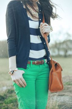 colored jeans w/ a cotton tee and long cardi. long strapped purses are in. w/ colored jeans stick to dark or neutral tops