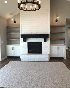 The One Thing To Do For White Shiplap Wall Living Room With Tv 8 Copy – – Modern brick fireplace Fireplace Built Ins, Home Fireplace, Brick Fireplace, Living Room With Fireplace, Fireplace Ideas, Fireplace Shelves, Fireplace Design, Fireplace Accent Walls, Fireplace Pictures