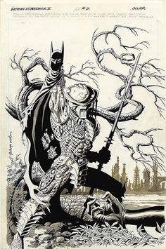 Original cover art by Paul Gulacy and Terry Austin from Batman vs. Predator II #2, published by DC and Dark Horse Comics, Jaunary 1994.