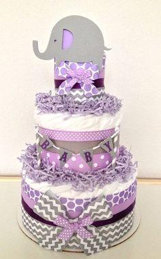 Chevron Gray and Purple Lavender Lil Peanut by PoshPartyCompany, $45.00