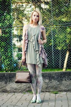 H&M ruffles dress vest floral tights Kristin Perry bracelet