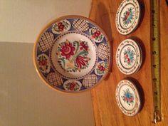 4~ MODRA Slovak HandPainted WALL PLATES Majolica Folk Art Pottery Kerimaka | eBay Hand Painted Walls, Plates On Wall, Pottery Art, Folk Art, Decorative Plates, Basket, My Favorite Things, Flowers, Painting