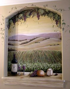 rustic tuscany paint wine | Wine and cheese on window sill overlooking California vineyard.