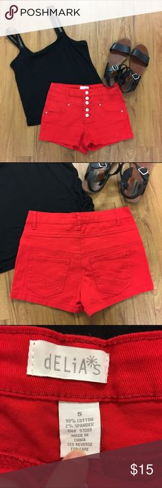 Delias High Waisted Red Denim Shorts Delias High Waisted Red Denim Shorts in size 5. Great condition, worn once. The perfect pair of fun summer shorts. Delia's Shorts Jean Shorts