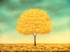 Art Print of Golden Tree Painting, Whimsical Yellow Tree Contemporary Art, Wall Decor Print of Oil Painting, Autumn Gold, 4x5, 8x10, 11x14 by BingArt on Etsy