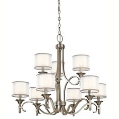 "View the Kichler 42382 Lacey 9 Light 34"" Wide 2-Tier Chandelier with Organza Shades and Diffusers at LightingDirect.com.  Pretty for the dining room."