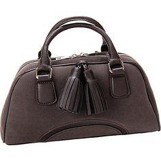Flying Daisies Chestnut Faux Leather Satchel Handbag Purse Chesnut - Flying Daisies Manmade Handbags