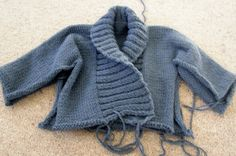 Chunky blue grey ribbed cardy, knitted all in one, so a bit different.