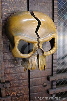 Brass Skull Door Handle