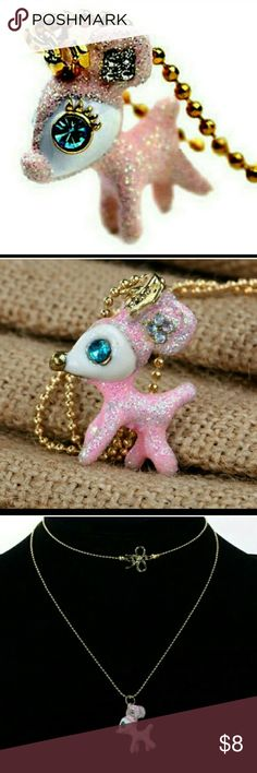 CUTE PINK GLITTER SPARKLE DEER NECKLACE New with tags Jewelry Necklaces