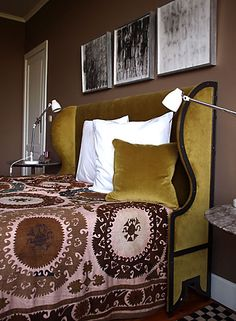 Wingback Headboard, full size, possibly sideways up against wall so it doubles as a daybed.