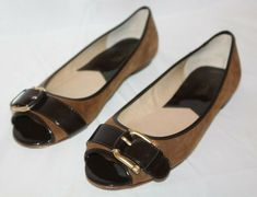 fa8cdd47c434 AGL Women s Cap Toe Camel Brown and Black Leather Ballerina Flats Shoes Size