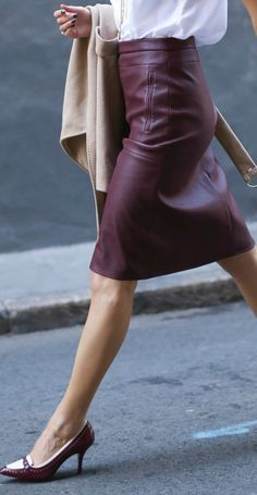 Memorandum Burgundy Leather Skirt Fall Inspo