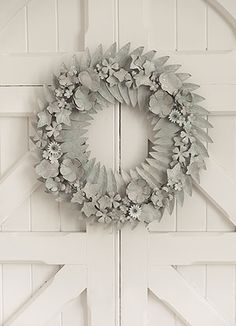 Galvanised Pressed Metal Floral Wreath. Stunning colour contemporary design.