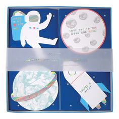 Handing out Valentine's Day cards is bound to be a blast with this set of space-themed love notes. > Pack contains 24 cards in 4 styles > Designed in England by Meri Meri