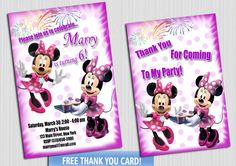 Minnie Mouse Invitation, Minnie invitation, Minnie Mouse Birthday  - Printable Minnie Mouse Invitation - Chalkboard Mickey Minnie Invite