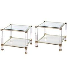 Chic Pair of French Nickel, Lucite and Glass Square Side Tables by Pierre Vandel