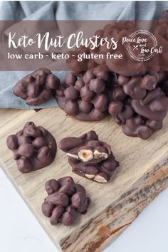 These Keto Chocolate Nut Clusters are the perfect quick and easy low carb sweet treat. WIth only 3 ingredients they are ready in no time. Low Carb Sweets, Low Carb Desserts, Low Carb Recipes, Easy Recipes, Healthy Recipes, Dessert Bars, Dessert Recipes, Snack Recipes, Stevia