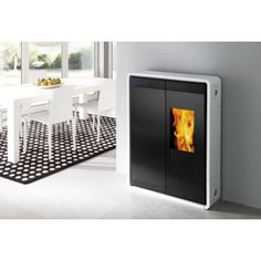 Edilkamin pellet stove. wood TINY white ceramic