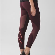 All meshed up 7/8 tight Perfect condition! Size 6 all meshed up 7/8 tights in maroon. Sold out color in the us! lululemon athletica Pants Leggings