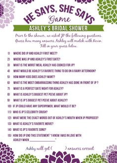 Bridal Shower Games, He Says She Says - Printable and Personalized, purple and green. via Etsy.