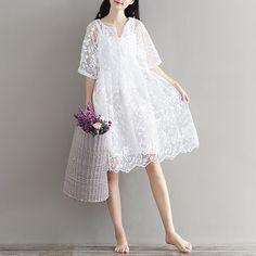 Mori Girl Chiffon Dress White Color High Waist Embroidery Lace Women Dress Half Dress O Neck Two Pieces Plus Size XL